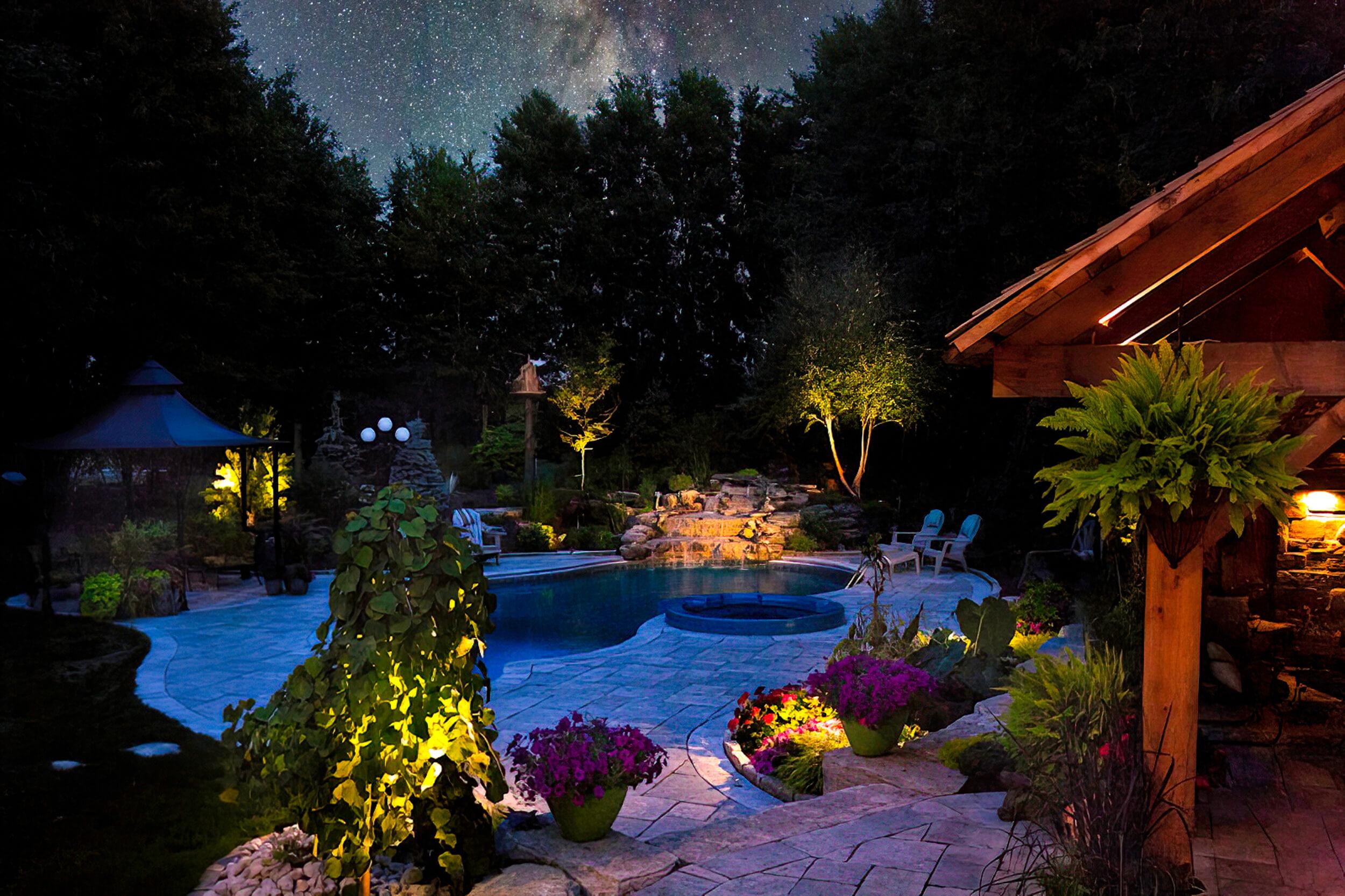 Fergus Ontario pool timber frame lighting