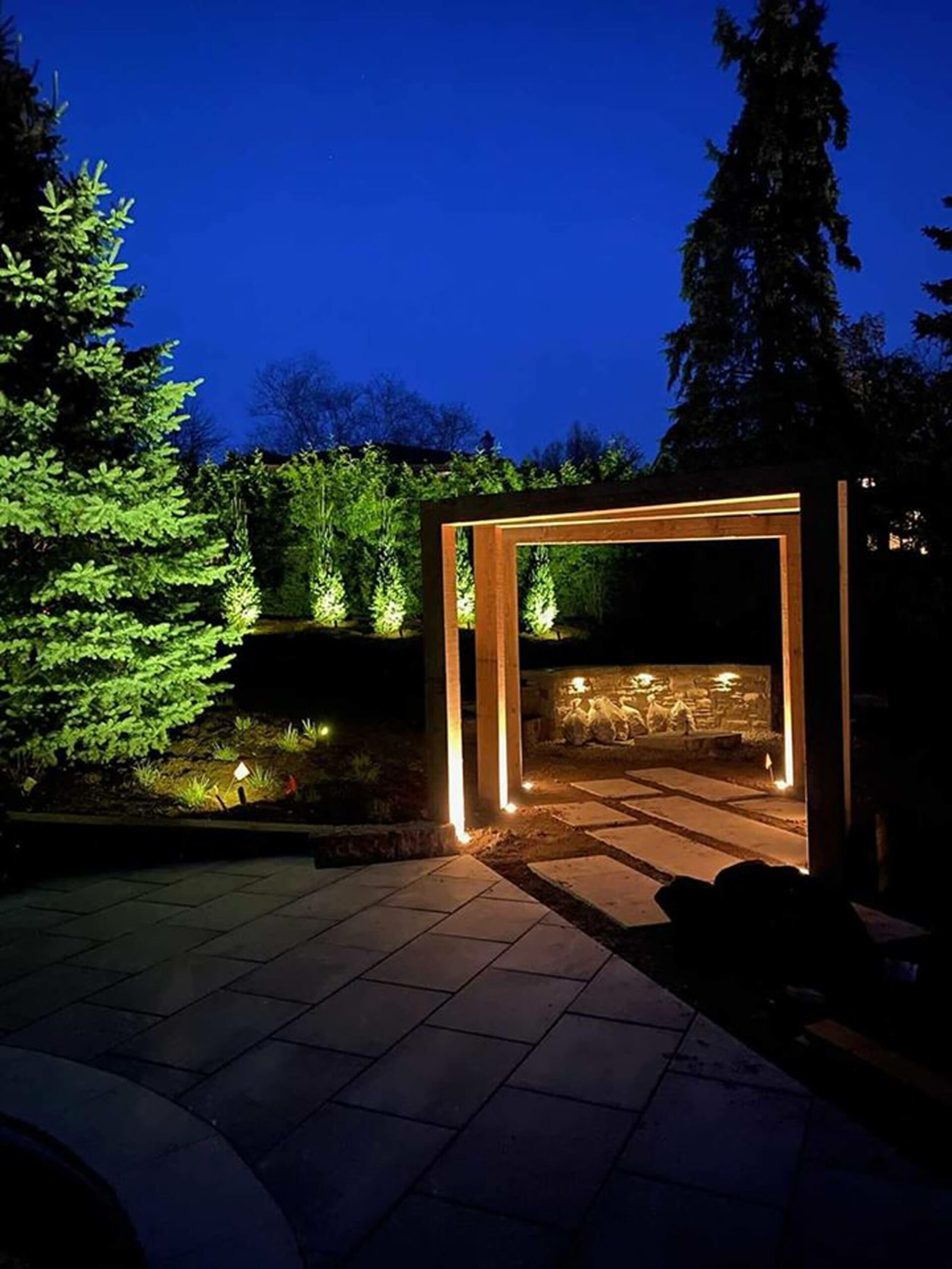 Fire feature wall lighting in Guelph Ontario