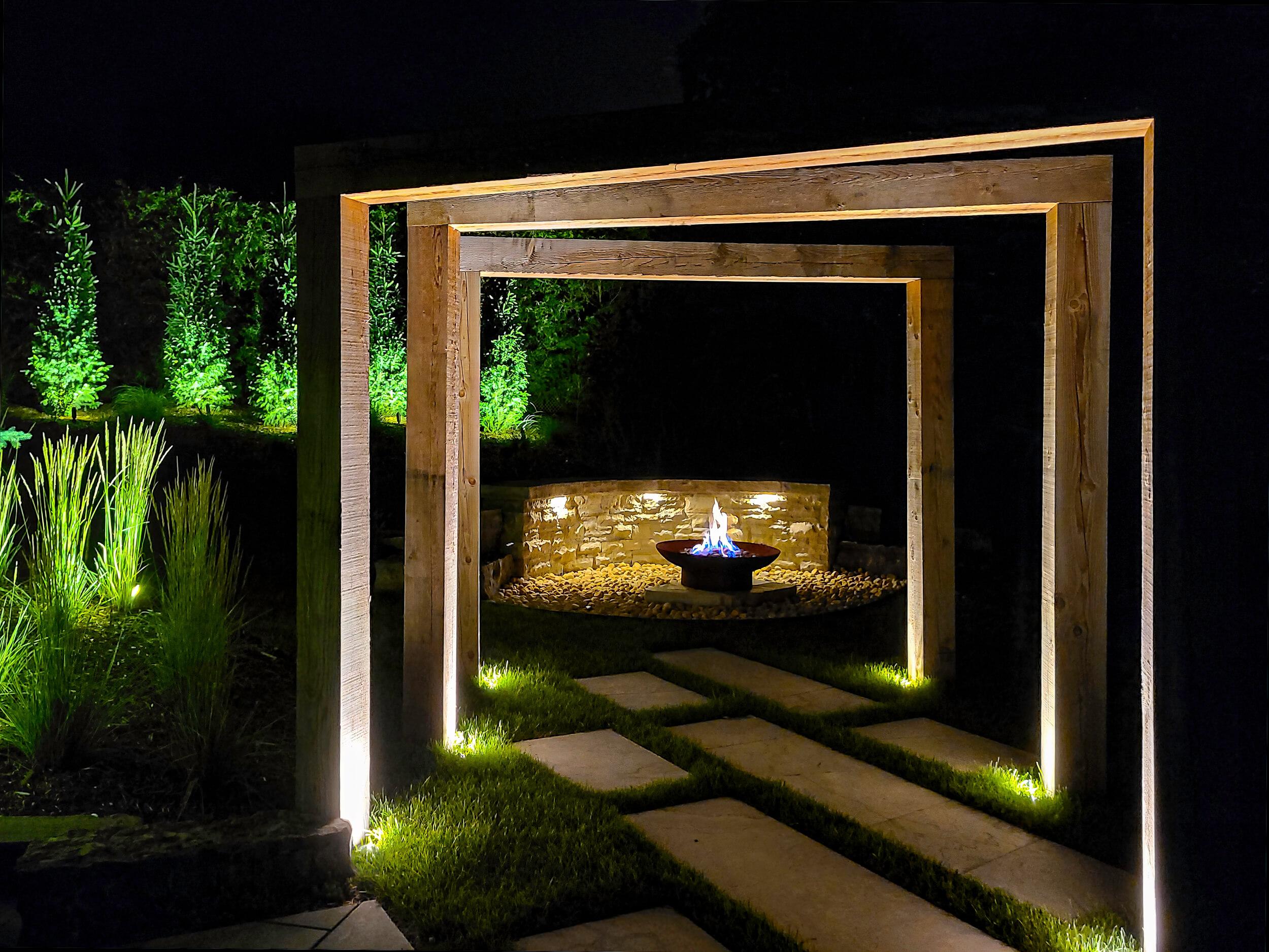 Modern outdoor lighting features in Guelph Ontario