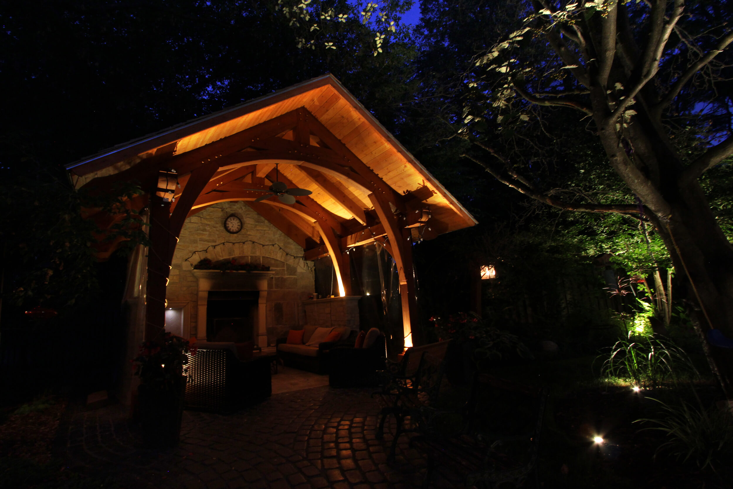 Outdoor fireplace timber frame led lighting in Guelph Ontario