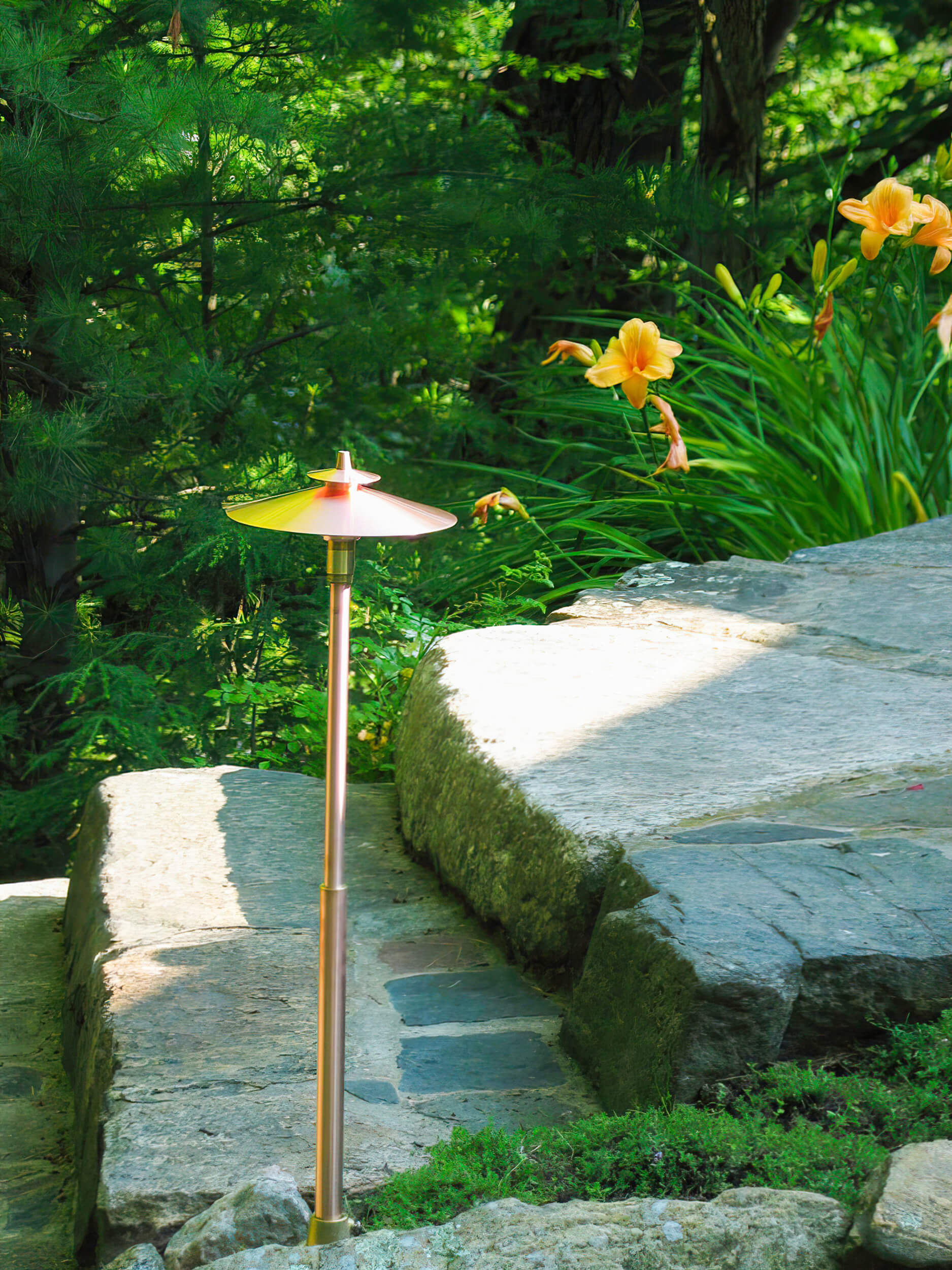 Parry Sound island pathway copper lighting