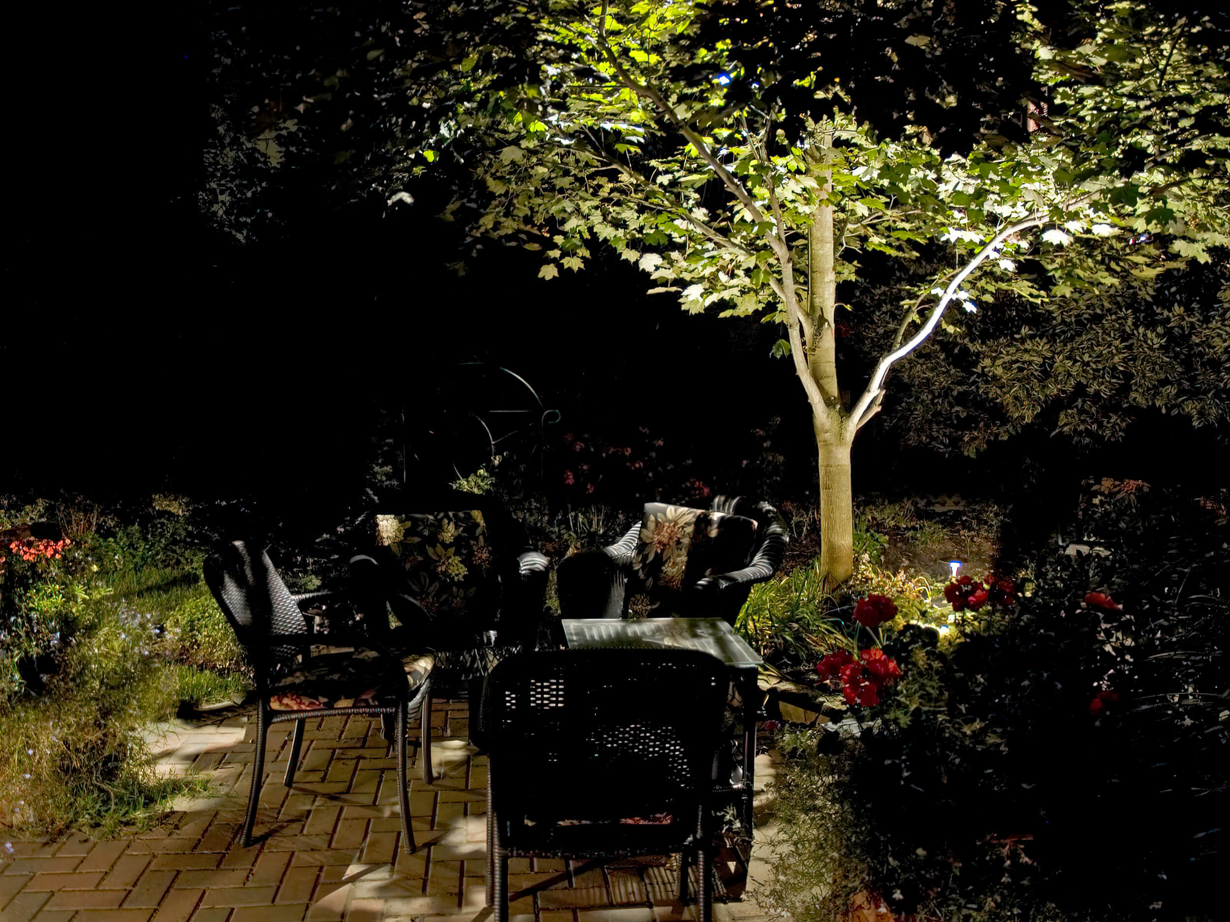 Patio down lighting in Guelph Ontario