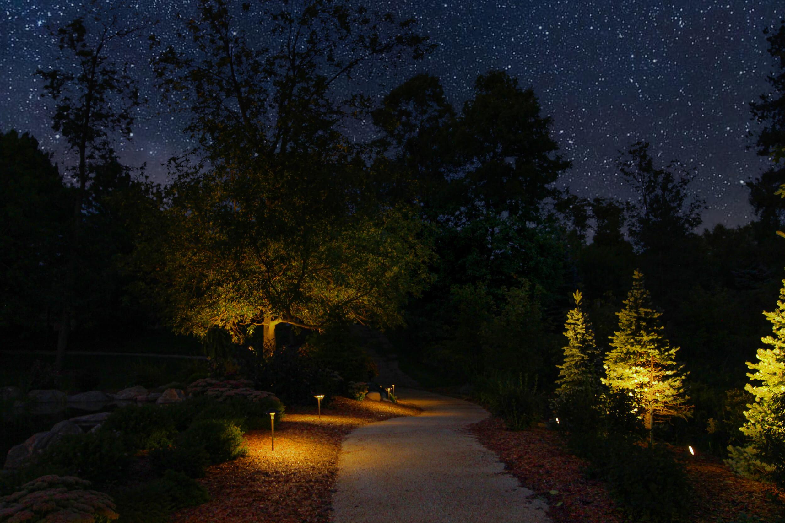 Puslinch pond pathway copper led lighting