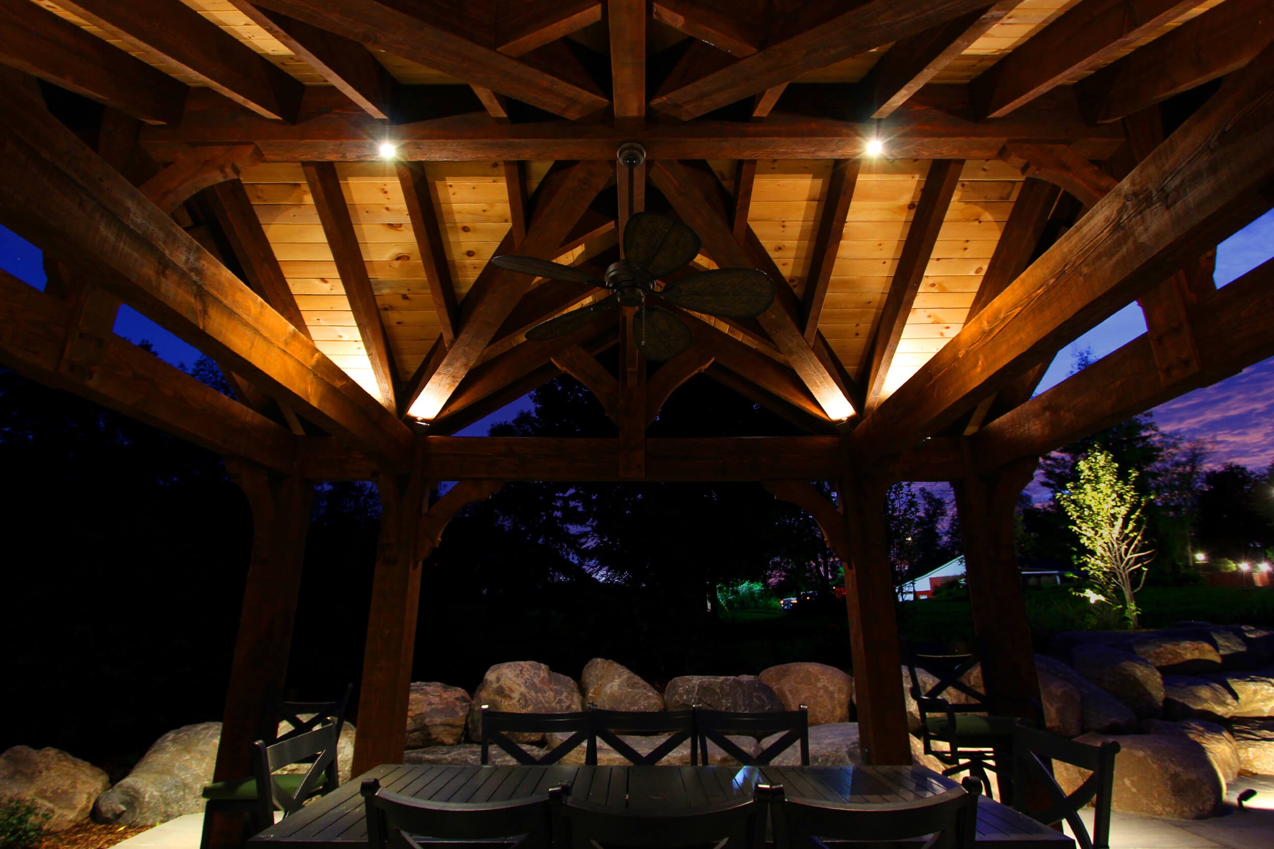 Puslinch timber structure led brass feature lighting