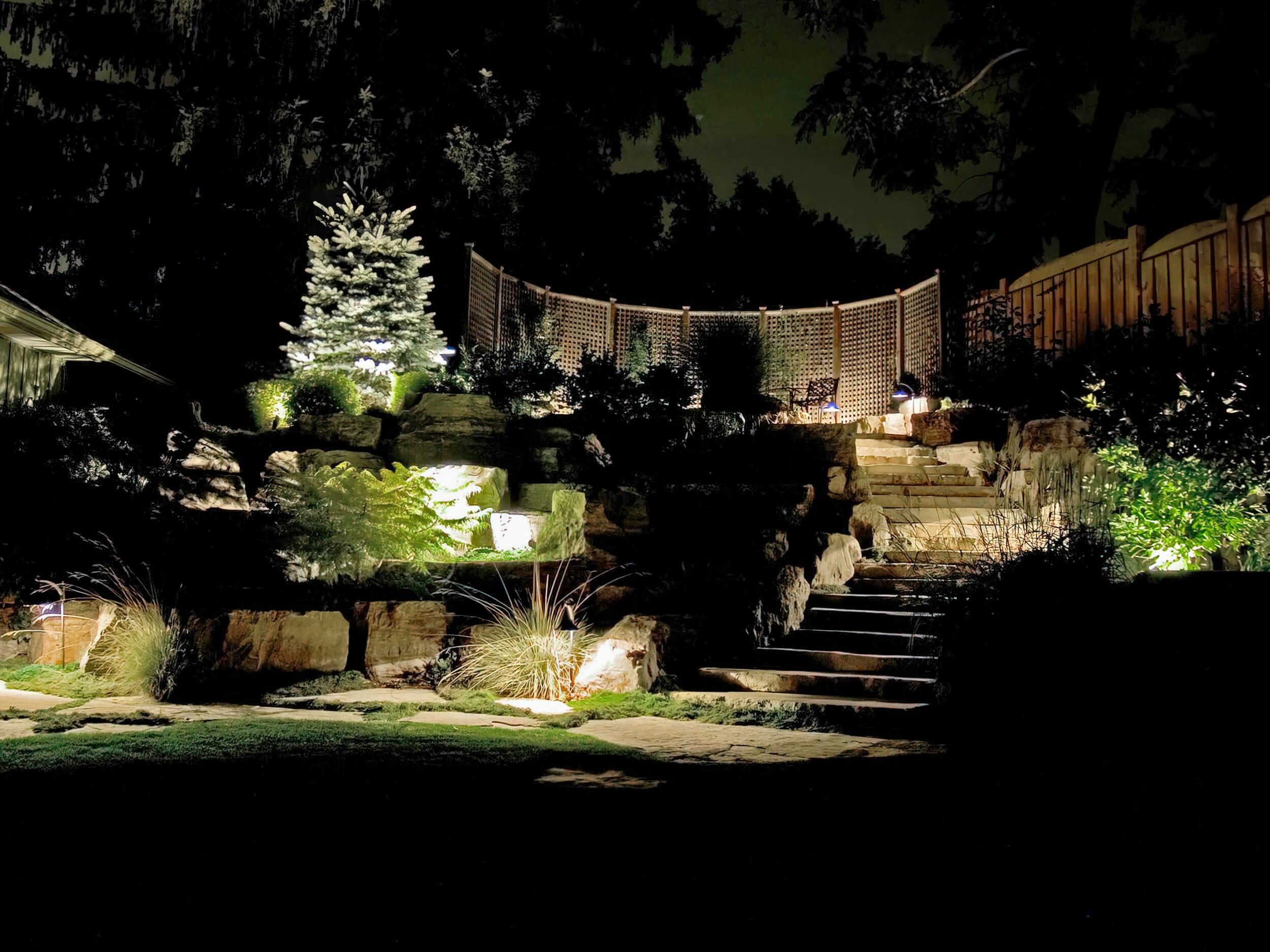 Raised backyard uplighting in Guelph Ontario