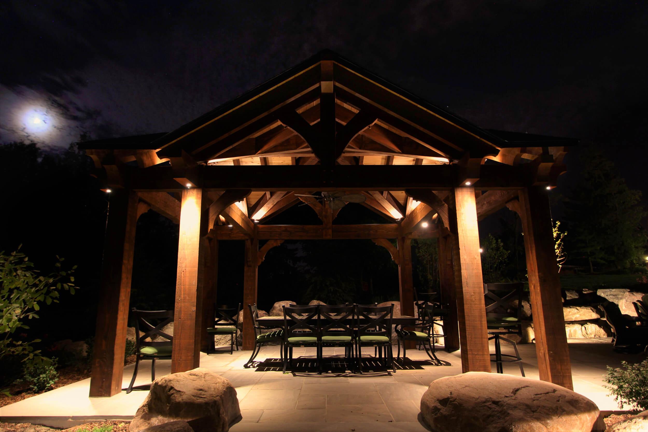 Timber frame lighting in Puslinch Ontario